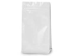 16 oz White Coffee Bags with Degassing Valve, 25 pack