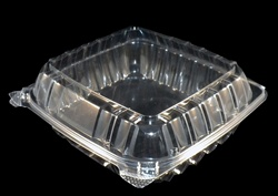 "Clear 9"" Clam Shell Polystyrene takeout container"