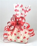 "4"" x 2.75"" x 9"" Red Hearts Printed Cello Bags"